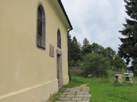 St. John Nepomuk: church and outside makeshift altar made of natural rock