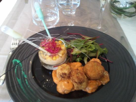 Restaurant La Lieutenance : Délices de Tourteau aux herbes fraîches, Achard de Salicorne
