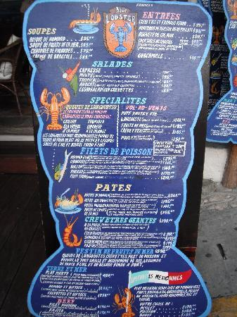 Blue Lobster: menu