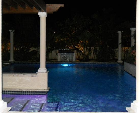 Blue Boy Inn: The pool at night.  There is also a cold and hot whirlpools.