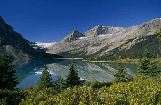 Bow Lake and the Iconic Red Roof of Num-Ti-Jah Lodge