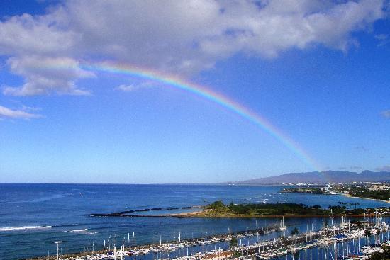 Hilton Hawaiian Village Waikiki Beach Resort : View from Rainbow Tower, lagoon side