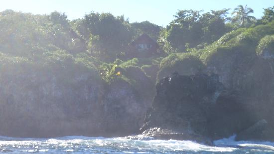 Alofi, Niue: View of our fale from the ocean