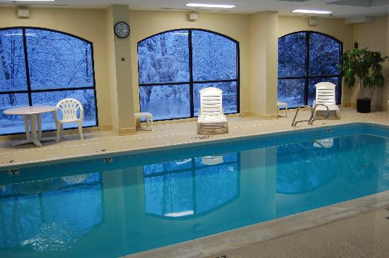 Comfort Suites Regency Park: Pool with snowy scene thru window