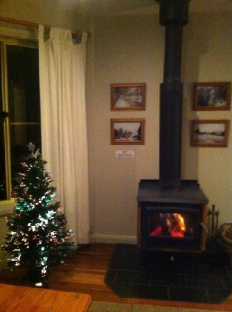 Duckmaloi Farm: the cosy living room with lighted Xmas tree n fire place.