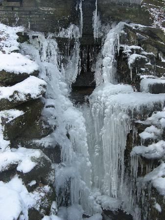 Halifax, UK: frozen waterfall in park