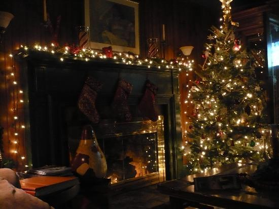 The Banner Elk Inn, B&B and Cottages: Fireplace and Tree in Living room