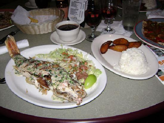 Pancho's: My Red Snapper meal served in 3 plates