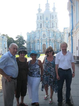 Andrey Vereshhagin- Private Guide in St. Petersburg: In front of Smolny cathedral in St.Petersburg with cruise passengers, summer 2010