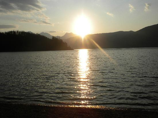 Glacier National Park Campgrounds: Sunrise over Lake McDonald near campsite