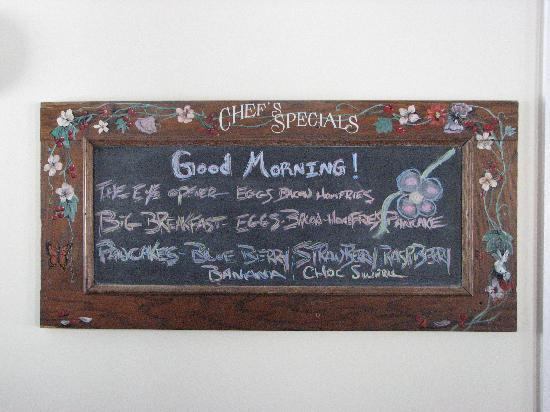 "Inn at Mount Snow: Enjoy breakfast from the chalkboard menu or try the ""fritatta"" special"