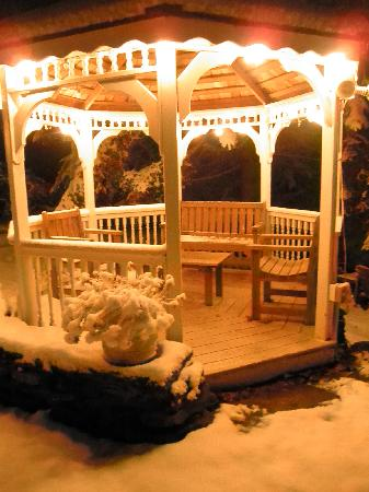 Jump Start New York: first snow, gazebo at night