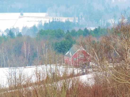 Millstone Hill Barn and Lodge: View of The Lodge from the trail network