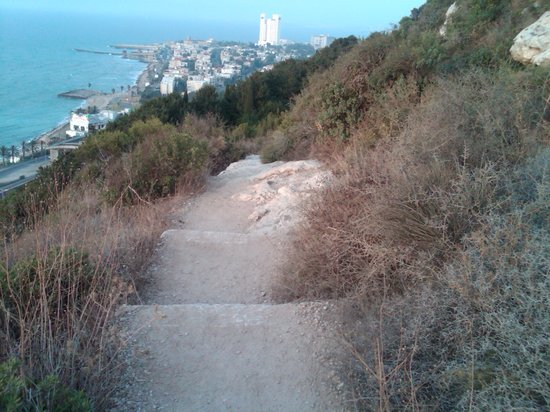 Haifa, Israel: Pathway down from Stella maris to sea