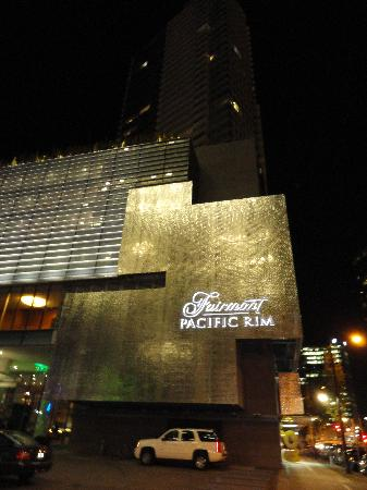 Fairmont Pacific Rim: Front of hotel at night.