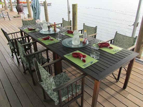 Nautical Nights: Brekfast table on back deck.