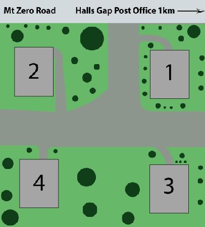 Heatherlie Cottages Halls Gap: block layout