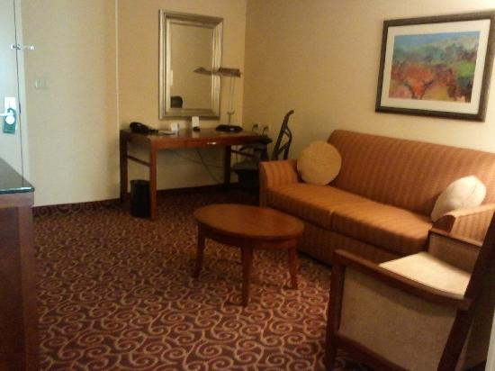 هيلتون جاردن إن هيوستن إينريجي كوريدور: King Evolution Suite Living Area View from Bedroom