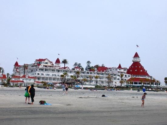 Hotel del Coronado: View of The Del from the beach