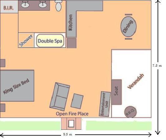 Heatherlie Cottages Halls Gap: Floor plan
