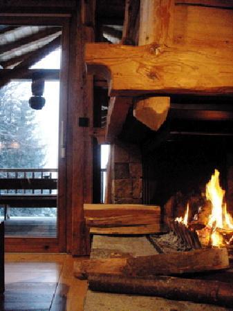 Hotel les Servages d'Armelle: Fireplace