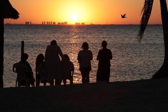 Playa Gaviota: Sunset looking towards Cancun