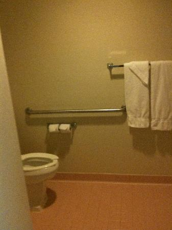 Comfort Inn - Hall of Fame: 1980's style pink bathroom: note thin towels