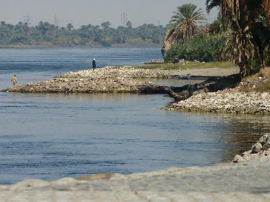 Hilton Luxor Resort & Spa: View up river from my sunlounger.