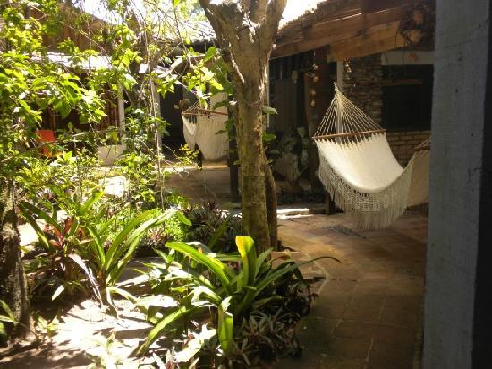"Caribbean Coral Inn: View ""inside"" with hammocks in front of every cabin."