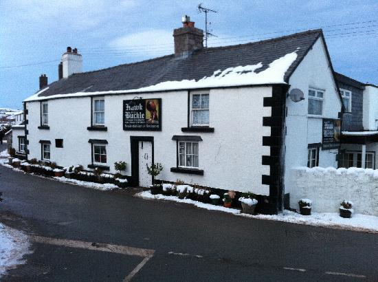Denbigh, UK: The Hawk & Buckle in winter.