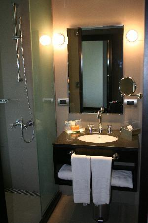 NH Buenos Aires Tango: Vanity & shower.