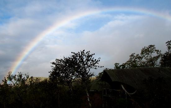 Galapagos Safari Camp: Rainbow over tent
