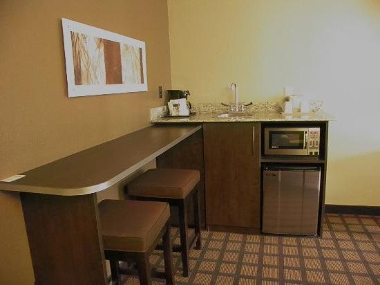 Microtel Inn & Suites by Wyndham Macon: wet bar area, queen suite