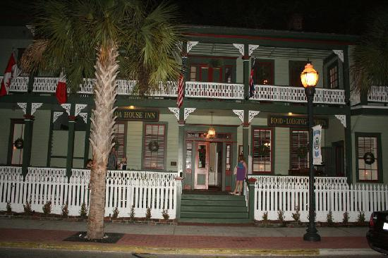Front of Florida House Inn in the evening
