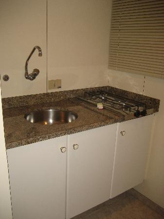Quality Suites Oscar Freire: Handy kitchenette with sink and refridgerator.