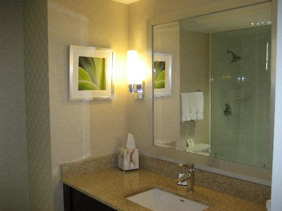 Holiday Inn Express Toronto - Markham: Spacious bathroom with good showerhead. Poor lighting, but plenty of counter space!