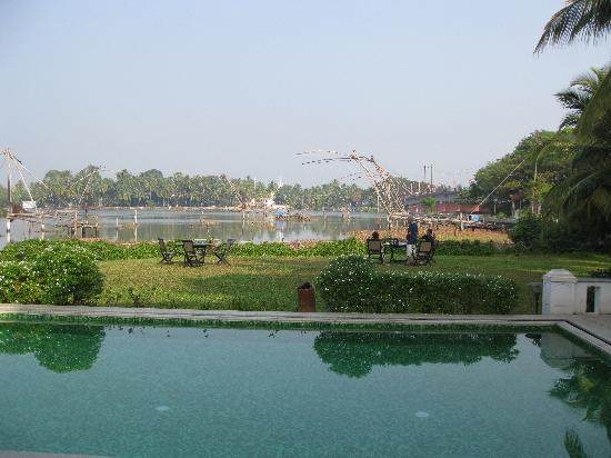Heritage Methanam : Chinese fishing nets from hotel pool