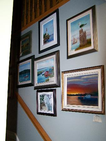 Eastern Passage Bed & Breakfast: The stairway to the main area and dinning, consisting of original woks of art by Mary.