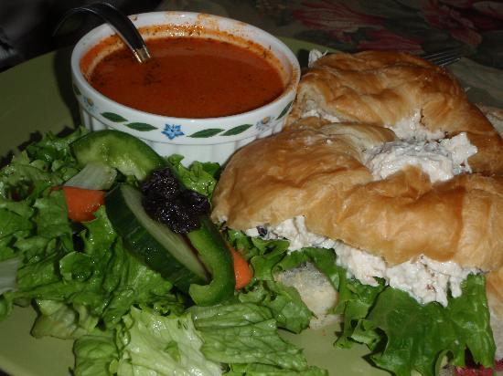 Chicken Salad Croissant Served With Tomato Soup And Crisp