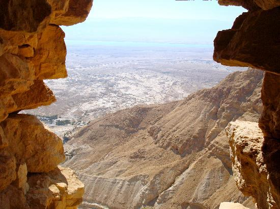 Ein Gedi, İsrail: View out from Masada to Dead Sea