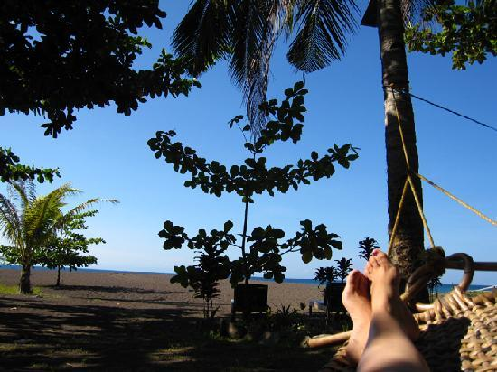 Camiguin Action Geckos Dive & Adventure Resort: Relaxing at the beach in a very comfortable hammock