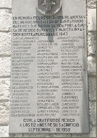 San Jacinto Plaza : Memorial Plaque to the San Patricios