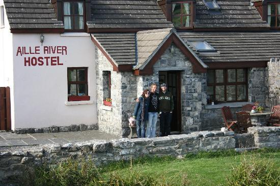 In front of the Aille River Hostel