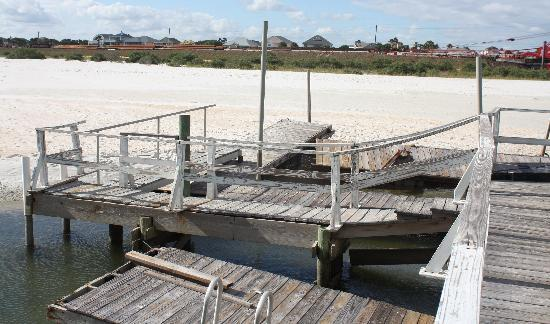 The Lodge: Dock in disrepair and filled in with sand