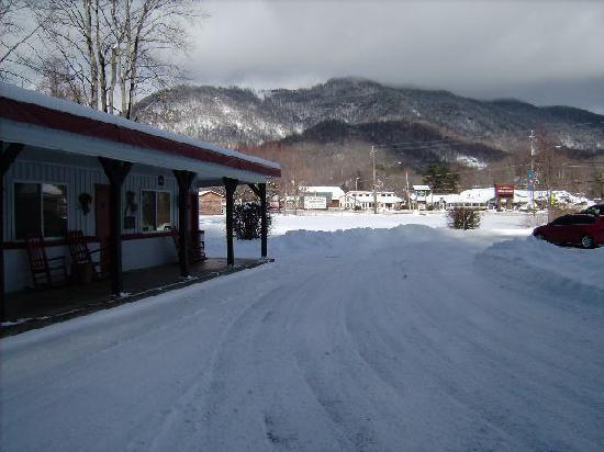A Holiday Motel: looking from motel porch area to the mountains