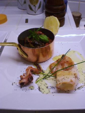 Byzance cote Balcon : Calamar grillé & ratatouille Niçoise