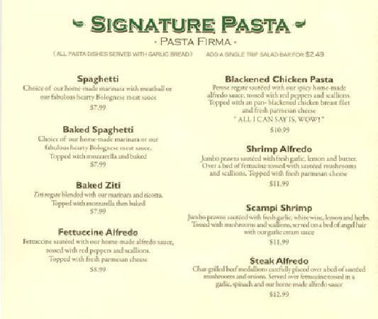 Pro's Italian Dining: Signature Pastas