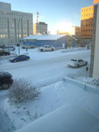 Yellowknife Polar Suite Guest Room: Yellowknife Downtown from Building