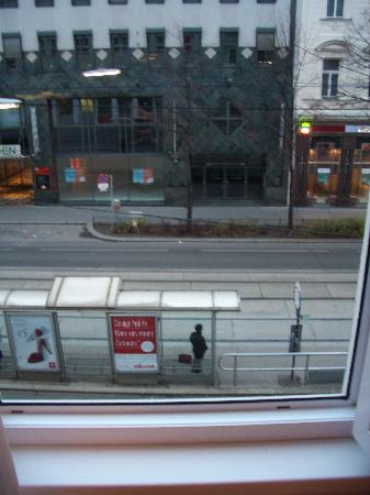 Attache Hotel Pension: View from room to the streetcar station