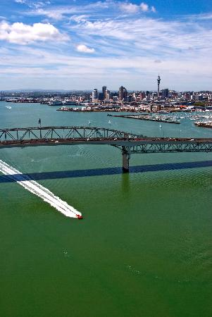 Auckland Adventure Jet cruising under the Harbour Bridge